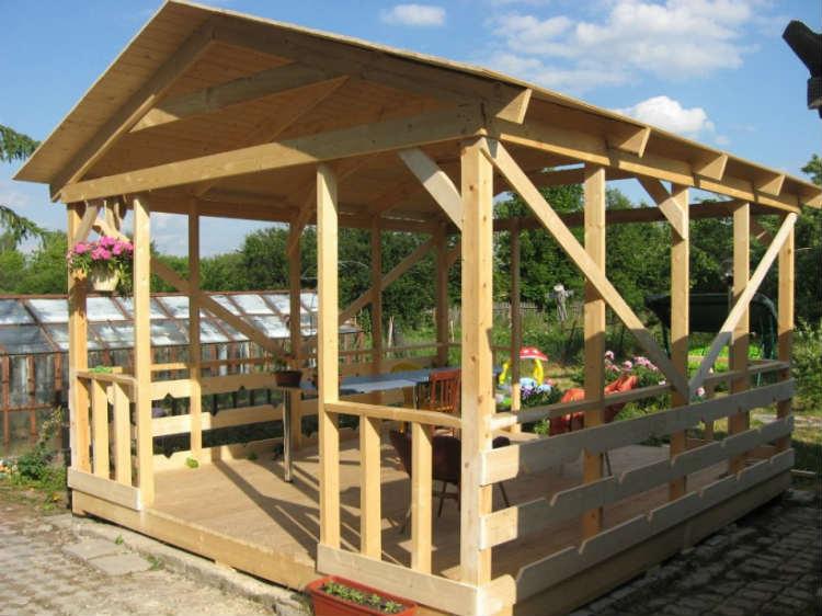 Come costruire le opzioni di gazebo. cosa usare per il tetto. stage
